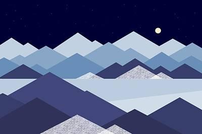 Digital Art - Cold Blue Winter Peaks by Val Arie