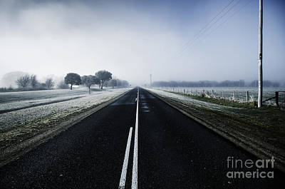 Cold Blue Winter Road Art Print by Jorgo Photography - Wall Art Gallery