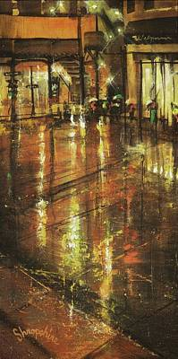 Chicago At Night Painting - Cold Chicago Rain by Tom Shropshire