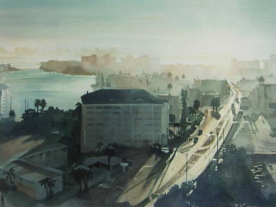 Art Print featuring the painting Cold Dawn On Gulf Boulevard by Elizabeth Carr