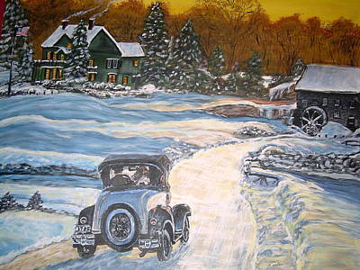 Grist Mill Painting - Cold Drive Home by Vickie Wooten