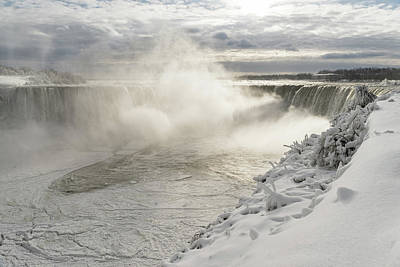 Photograph - Cold Fury - Niagara Falls Spectacular Ice Fields And Sunlit Mist by Georgia Mizuleva
