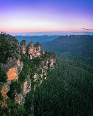 Photograph - Cold Morning But Warm Sunrise Colors In The Sky At Three Sisters by Daniela Constantinescu