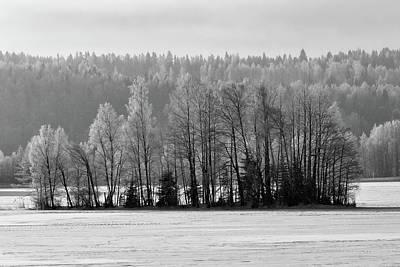 Photograph - Cold Morning On The Lake Bw by Jouko Lehto