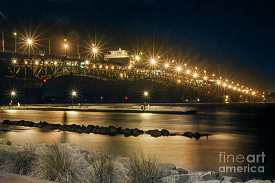 Photograph - Cold Night At Coleman Bridge Yorktown Virginia by Karen Jorstad