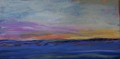 Prairie Sunset Painting - Cold Night Coming Soon by Helen Campbell