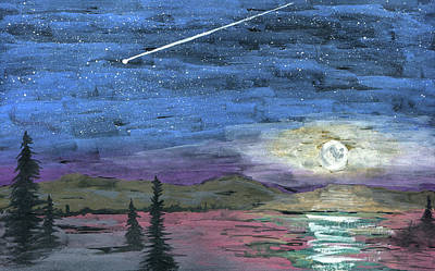 Painting - Cold Night's Moon by R Kyllo