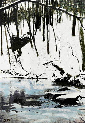Painting - Cold Snow Hill Trees Multimedia Sketch Washington Dc Fine Art by G Linsenmayer