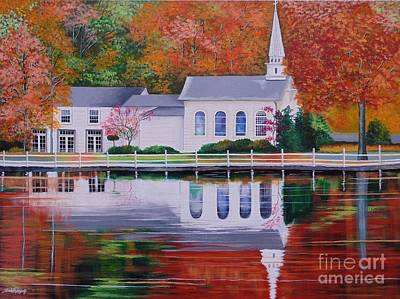 Painting - Cold Spring Harbor St Johns Church by Nereida Rodriguez