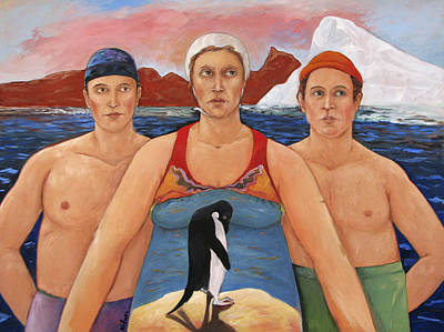 Humourous Painting - Cold Water Swimmers by Paula Wittner