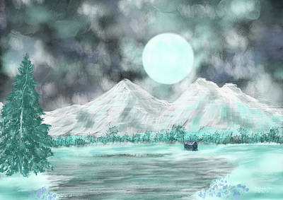 Digital Art - Cold Winter Night by Artful Oasis