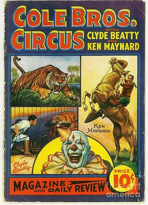 Painting - Cole Bros Circus With Clyde Beatty And Ken Maynard Vintage Cover Magazine And Daily Review by R Muirhead Art