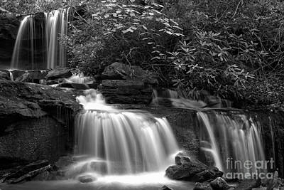 Photograph - Cole Run Cascades Black And White by Adam Jewell