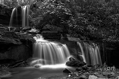 Photograph - Cole Run Falls Black And White by Adam Jewell