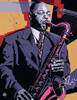 Jazz Royalty-Free and Rights-Managed Images - Coleman Hawkins Cool by Garth Glazier