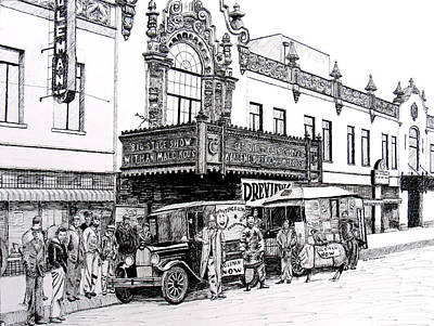 Ford Model T Car Drawing - Coleman Theater, Miami, Oklahoma, 1931 by Ron Enderland