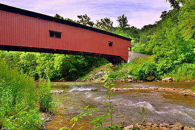 Photograph - Colemanville Covered Bridge Over Pequea Creek by Lisa Wooten