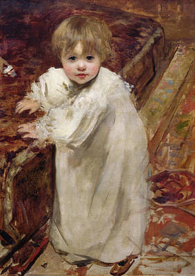 Toddler Portrait Painting - Colette's First Steps by Henri Gervex