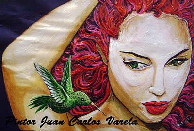 Colibri Art Painting - Colibri Y Mujer by Juan Carlos Varela