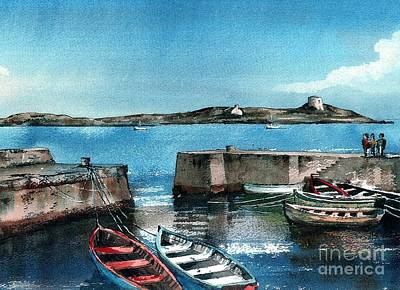 Painting - Coliemore Harbour, Dalkey, Dublin by Val Byrne