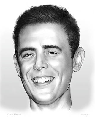 Orange Drawing - Colin Hanks by Greg Joens