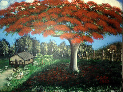 Flamboyan Tree Painting - Colina Del Flamboyan by Guito