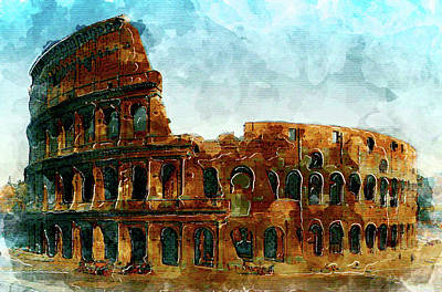 Coliseum Watercolor Painting Original by START from SCRATCH