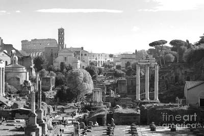 Photograph - Colisseum And Forum In Black And White by Angela Rath