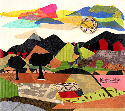 Mountain Sunset Mixed Media - Mountain Landscape Collage  1 by Everett Spruill