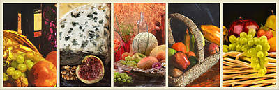 Collage  Of Fresh Fruit Paintings Art Print by Elaine Plesser
