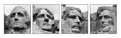 Mount Rushmore Photograph - Collage Of Rushmore Presidents On White by Jan and Burt Williams