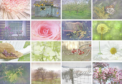 Antique Collage Photograph - Collage Of Seasonal Images With Vintage Look by Sandra Cunningham
