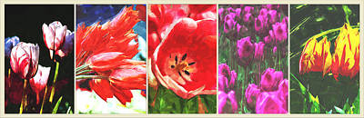 Spring Bulbs Painting - Collage  Of Tulip Flower Paintings by Elaine Plesser