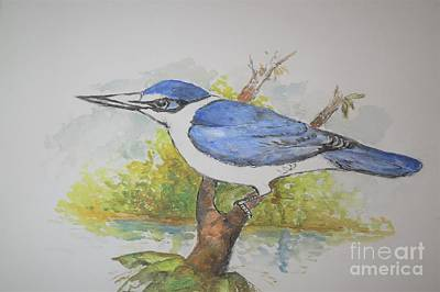 Painting - Collared Kingfisher by Jason Sentuf