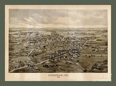 Maine Roads Digital Art - Collectable And Rare Map Of Kennebunkport Maine by Pd