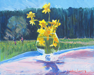 Snifter Painting - Collecting Daffodils by Candace Lovely