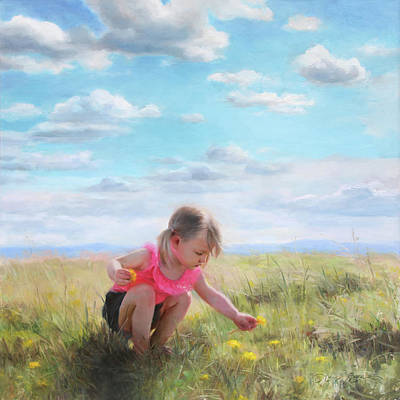 Toddler Painting - Collecting Dandelions by Anna Rose Bain