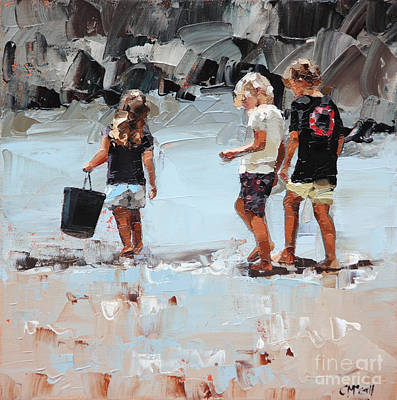 Child Painting - Collecting Pippies II by Claire McCall
