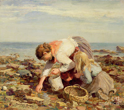 Wicker Painting - Collecting Shells  by William Marshall Brown