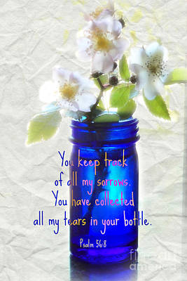 Christian Artwork Digital Art - Collecting Tears - Verse by Anita Faye