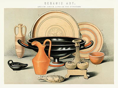 Drawing - Collection Of Ancient Everyday Ceramic Tools by Unknown