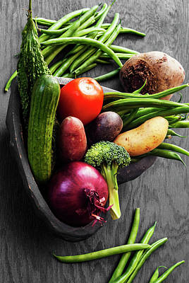 Collection Of Vegetables Still Life With Grey Background Art Print by Vishwanath Bhat