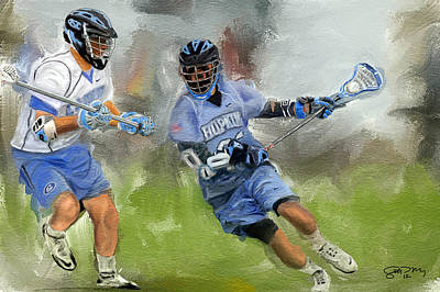 Scott Melby Painting - College Lacrosse Attack by Scott Melby