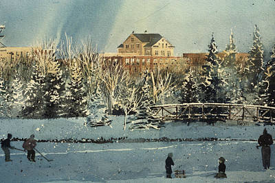 Augustana Painting - College Skating by Martin Giesen