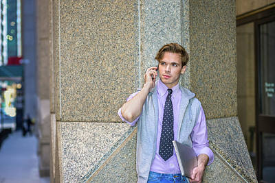 Photograph - College Student Calling On Cell Phone On Street 15041221 by Alexander Image