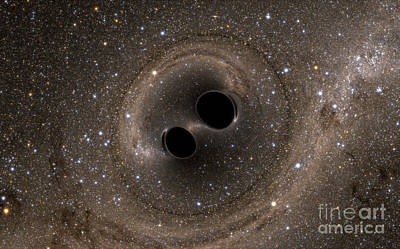 Merging Photograph - Colliding Black Holes Make Waves by Science Source