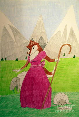 Drawing - Collie Bo Peep by Wendy Coulson