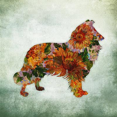 Watercolor Pet Portraits Digital Art - Collie Floral On Green by Flo Karp