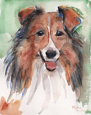 Watercolor Pet Portraits Painting - Collie, Shetland Sheepdog by Maria's Watercolor