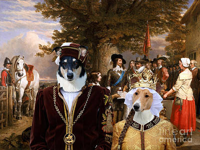 Painting - Collie Smooth - Smooth Collie Art Canvas Print - The Eve Of The Battle Of Edge Hill by Sandra Sij